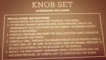 Knob Instructions